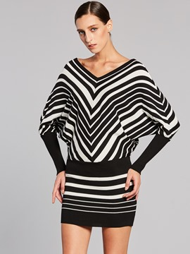 Ericdress Stripe V-Neck Batwing Sleeves Sweater Dress