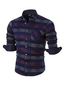Ericdress Color Block Stripe Casual Men's Shirt