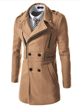 Ericdress Plain Lapel Double-Breasted Unique Slim Men's Woolen Coat