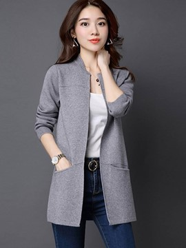 Ericdress Plain Mid-Length Cardigan Loose Knitwear