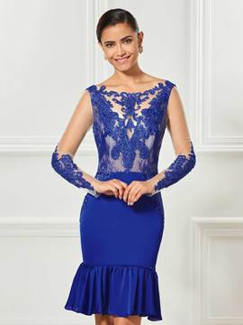 Ericdress Mermaid Long Sleeve Applique Backless Cocktail Dress In Knee Length