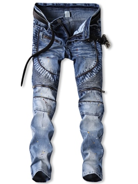 ericdress color block denim zip mid-waist unique pantalon homme