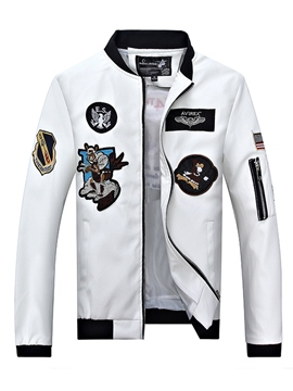 Ericdress PU Leather Embroidery Zip Vogue Slim Men's Jacket