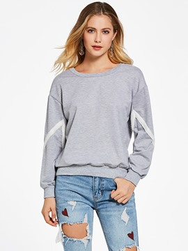 Ericdress Color Block Lace-Up Pullover Hoodie