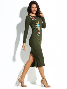 Ericdress Round Neck Floral Embroideried Sweater Dress