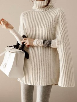 Ericdress Plain Turtleneck Mid-Length Poncho Sweater