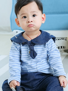 Ericdress Stylish Navy Collar Stripe Long Sleeve And Denim Pant Baby Boys Outfit
