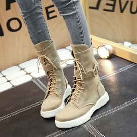 Ericdress Buckle Lace-Up Plain Ankle Boots