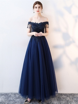 Ericdress Off The Shoulder Beaded Short Sleeve Long Evening Dress