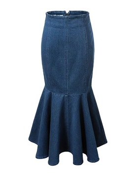 Ericdress High-Waist Mid-Calf Mermaid Women's Denim Skirt