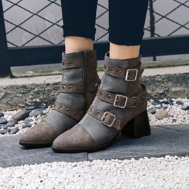 Ericdress Rivet Buckle Plain Chunky Heel Ankle Boots