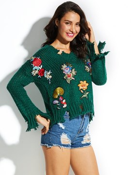Ericdress V-Neck Hole Embroidery Knitwear