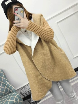 Ericdress Plain Patchwork Mid-Length Hooded Coat