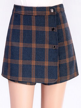 Ericdress High-Waist Asymmetric Plaid Button Shorts Pants