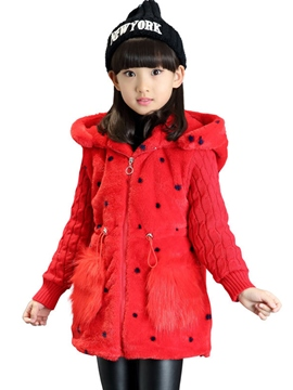 Ericdress Polka Dots Wool Patchwork Thicken Warm Hooded Girls Coat