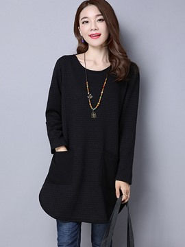 Ericdress Plain Pocket Mid-Length T-shirt