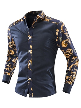 Ericdress Dashiki Casual Slim Long Sleeve Print Men's Shirt
