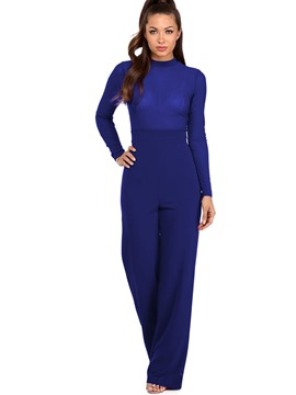 Ericdress Asymmetric Plain Slim Jumpsuits Pants