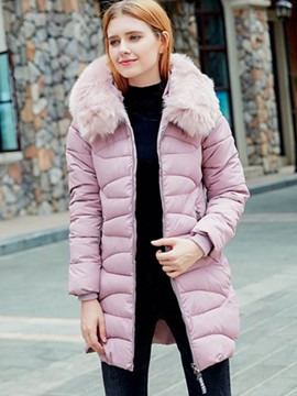 Ericdress Mid-Length Loose Fur Down Coat