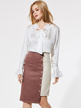 Ericdress Plain Ruffled Collar Flare Sleeve Shirt