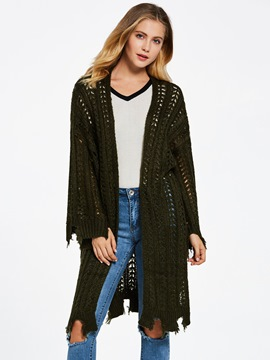 Ericdress Hollow Cardigan Plain Mid-Length Women's Sweater