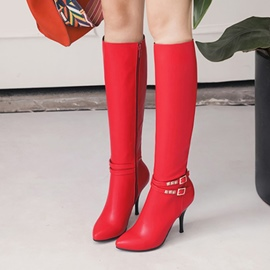 Ericdress Buckle Plain Stiletto Heel Knee High Boots