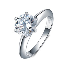 MarkChic Six-Prong S925 Sterling Silver Round Cut Wedding Ring