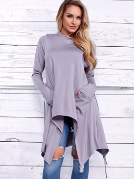 Ericdress Plain Asymmetric Mid-Length Cool Hoodie