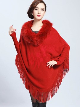 Ericdress Loose Tassel Fur Plain Cape
