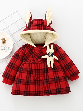 Ericdress Peplum Plaid Rabbit Ear Hooded Double-Breasted Thicken Baby Girls Coat