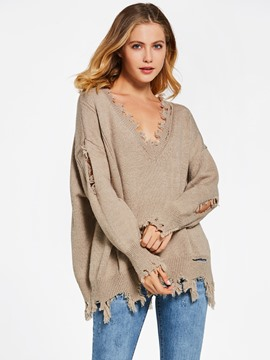 Ericdress Loose Plain Hole Pullover Women's Sweater