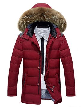 Ericdress Plain Faux Fur Thicken Warm Slim Men's Winter Coat