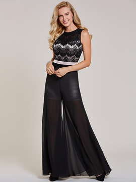 Ericdress Scoop Neck Lace Black Jumpsuits