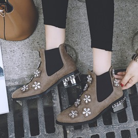Ericdress Unique Rhinestone Floral Patchwork Ankle Boots
