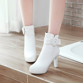 Ericdress Heart-Shaped Buckle Platform High Heel Boots