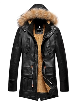 Ericdress PU Leather Hooded Thicken Warm Slim Men's Winter Coat