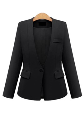 Ericdress One Button Plain Plus-Size Blazer