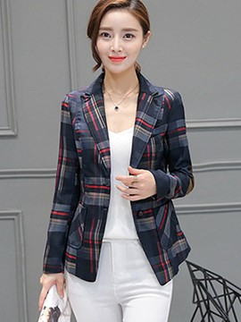 Ericdress Plaid Single-Breasted Pocket Blazer