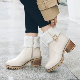 Ericdress Warm Buckle Platform Chunky Heel Ankle Boots