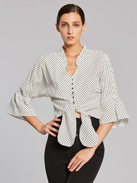 Ericdress V-Neck Polka Dot Flare Sleeve Blouse