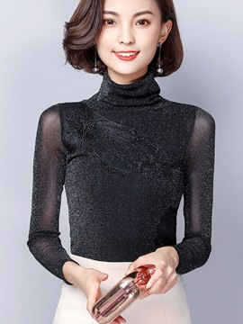 Ericdress Mesh Slim Turtleneck T-Shirt