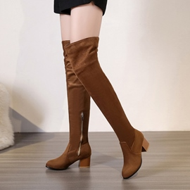 Ericdress Fashion Side Zipper Chunky Heel Knee High Boots