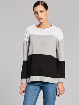 Ericdress Round Neck Stripe Color Block Knitwear