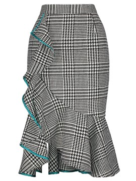 Ericdress Plaid High-Waist Asymmetrical Ruffles Women's Skirt
