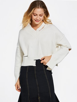 Ericdress Loose Hollow Short Pullover Sweater