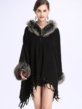 Ericdress Thick Plain Fur Collar Cape