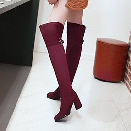 Ericdress Fashion Buckle Plain Knee High Boots