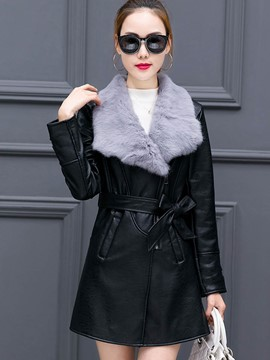 Ericdress Slim Patchwork Lace-Up Fur PU Jacket