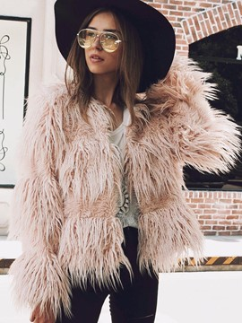 Ericdress Plain Loose Wrapped Fur Coat