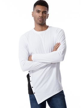Ericdress Plain Cotton Round Neck Long Sleeve Slim Men's T-Shirt